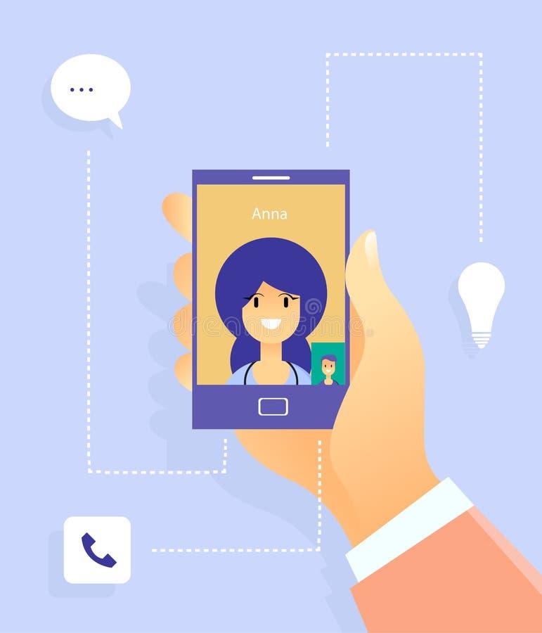 Sozialkommunikation mit Frau Plaudern zur Welt mithilfe der modernen Technologien Taube als Symbol der Liebe, pease vektor abbildung