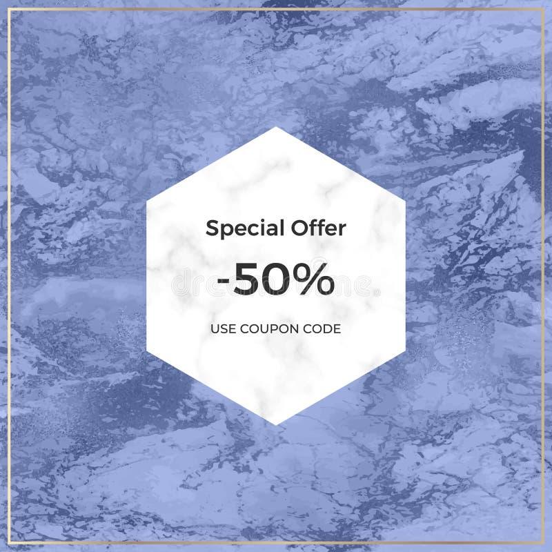 Sozialmadiafahne mit Marmor- und blauer Folienbeschaffenheit Modische Schablone für Flieger, Plakat, Karte, Einladungen lizenzfreie stockbilder
