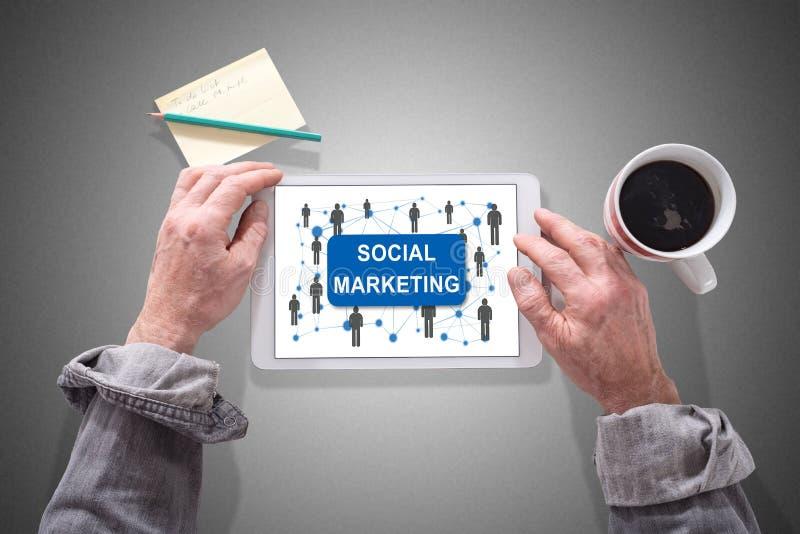 Sozialmarketing-Konzept auf einer Tablette lizenzfreie stockfotos