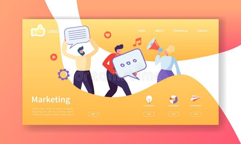Sozialmarketing-Landungs-Seiten-Schablone Website-Plan mit der flachen Leute-Charakter-Werbung Einfach zu redigieren stock abbildung