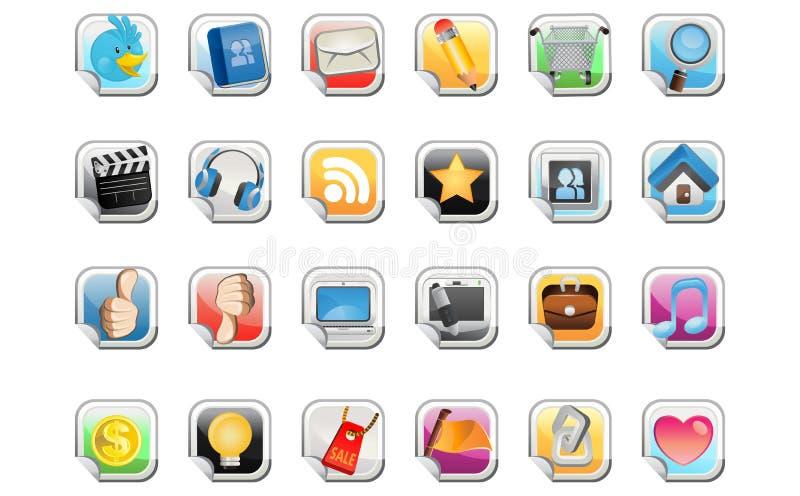 Sozialmedia-Aufkleber-Ikone stock abbildung