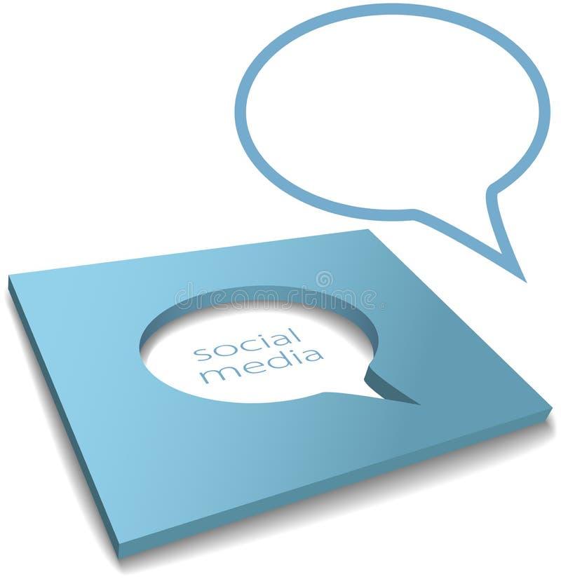 Sozialmedia-Sprache-Luftblasenkasten herausgeschnitten lizenzfreie abbildung
