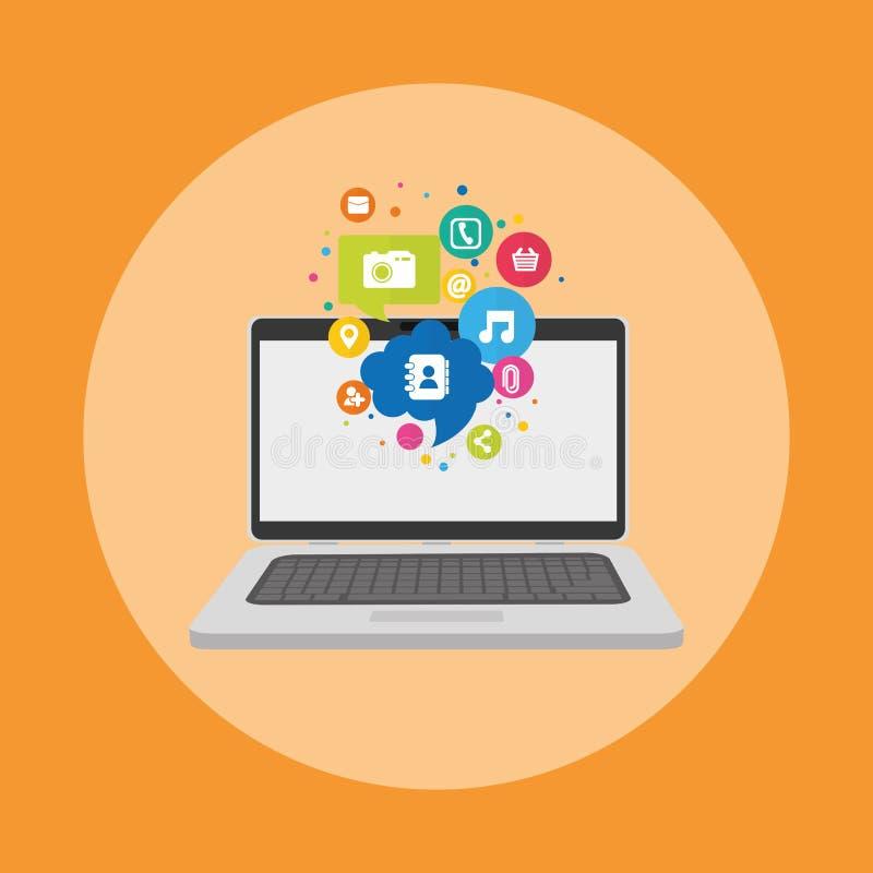 Sozialmedia und Vernetzung lizenzfreie abbildung