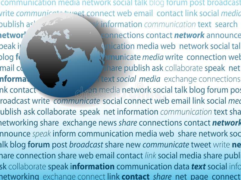 Sozialmedianetz der globalen Kommunikation lizenzfreie abbildung