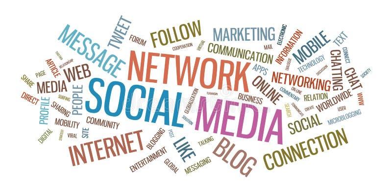 Typografische Illustration der Sozialmedien stock abbildung