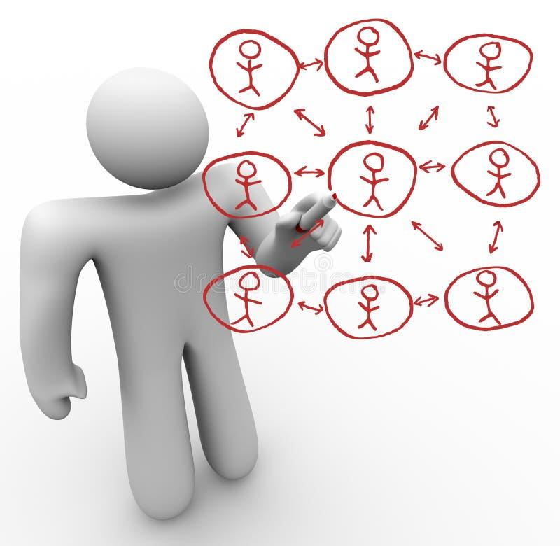 Sozialnetz-Personen-Zeichnung auf Glasvorstand vektor abbildung