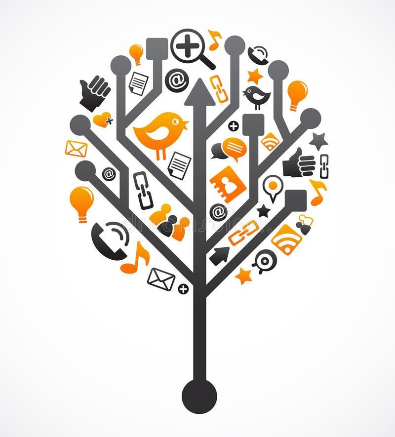 Sozialnetzbaum mit Mediaikonen lizenzfreie abbildung