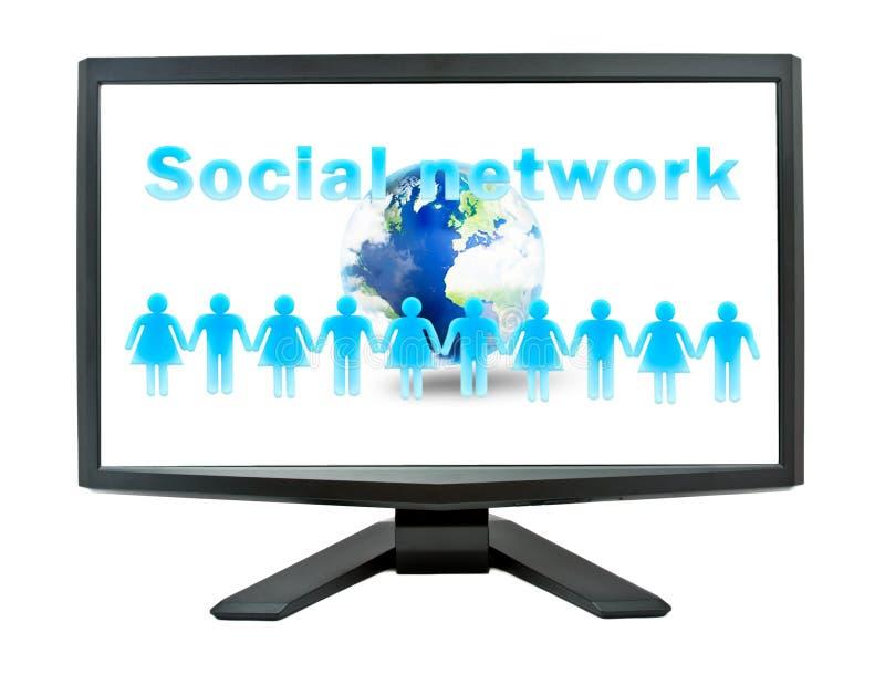 Sozialnetzkonzept auf einem Überwachungsgerätbildschirm stockfoto