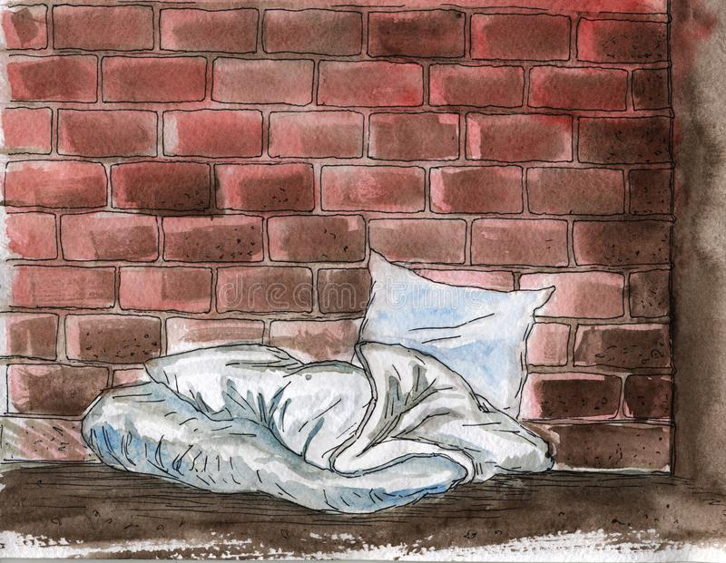 Sozialproblem der Heimatlosigkeit - von Hand gezeichnete Illustration des Aquarells vektor abbildung