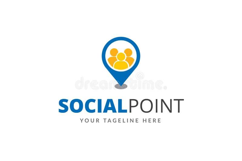 Sozialpunkt Logo Design Template Vector lizenzfreie abbildung