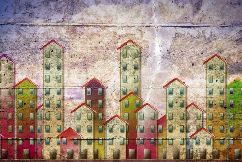 Sozialwohnungskonzeptbild malte auf einer Betonmauer - ich bin der Copyright-Inhaber der Graffitibilder, die in diesem Bild verwe stockfotos