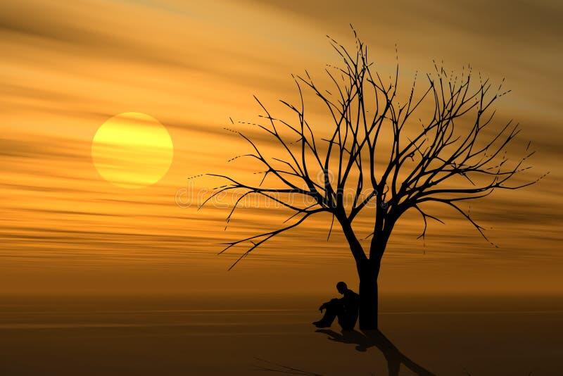 Sozinho sob a árvore no por do sol ilustração royalty free