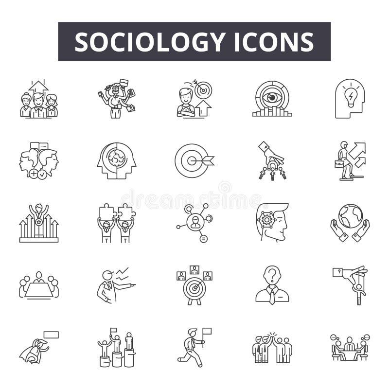 Soziologielinie Ikonen für Netz und beweglichen Entwurf Editable Anschlagzeichen Soziologieentwurfs-Konzeptillustrationen vektor abbildung