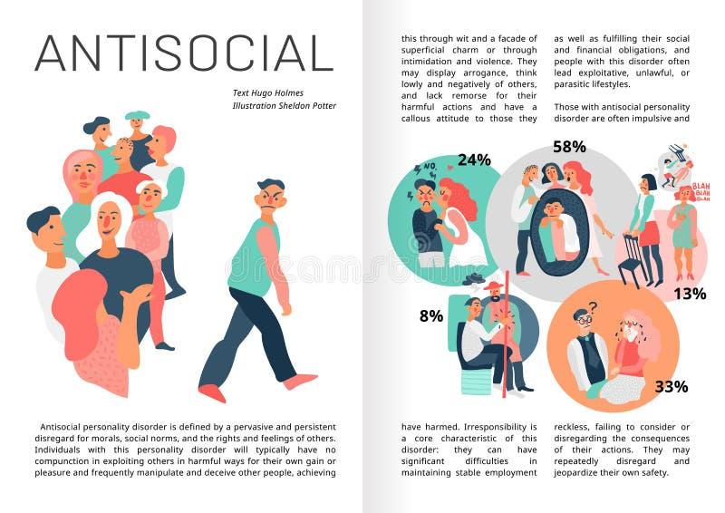 Soziopathie Infographics-Buch-Seiten vektor abbildung