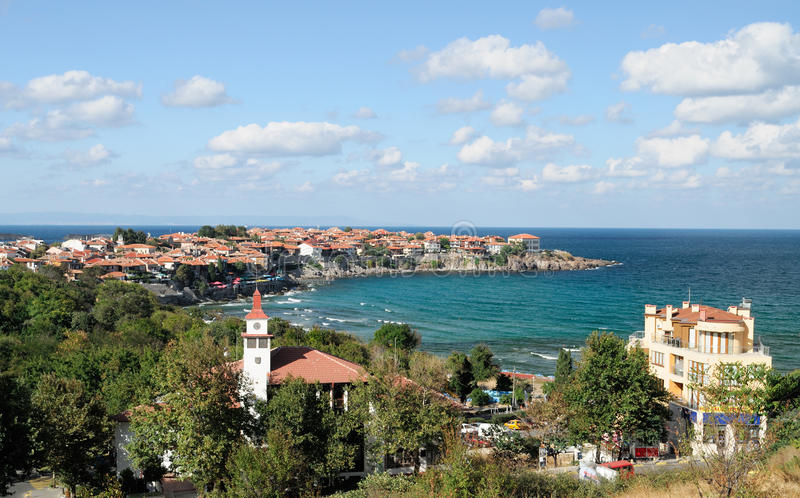 Sozopol old and new town in summer. Sozopol panorama in summer - old town and new town stock photos