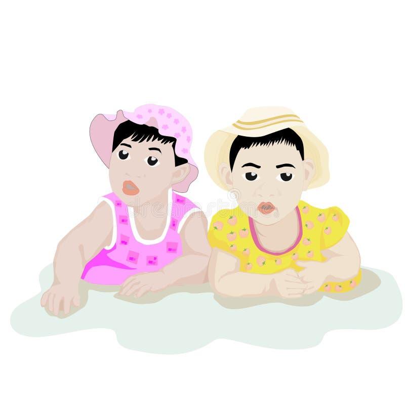 Spädbarn som tillsammans spelar på vit bakgrund royaltyfri foto
