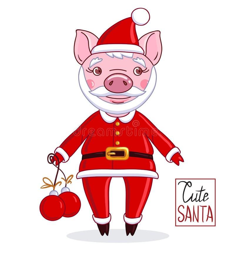 Spädgris för tecknad filmtecken i rollen av Santa Claus royaltyfri illustrationer