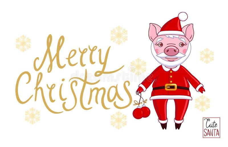 Spädgris i rollen av Santa Claus i en festlig dress stock illustrationer