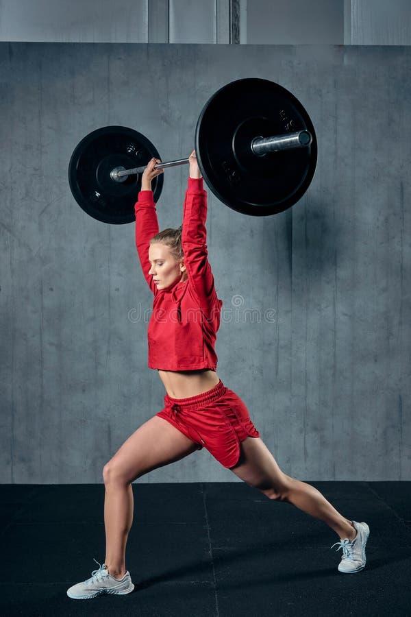 Spänd ung idrottskvinna som är klar att utföra skuldrapressövning med den tunga skivstången fotografering för bildbyråer