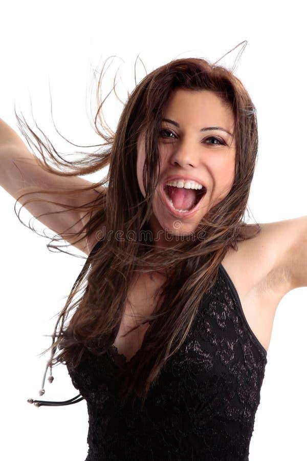 spännande översvallande rolig lycklig kvinna royaltyfria foton