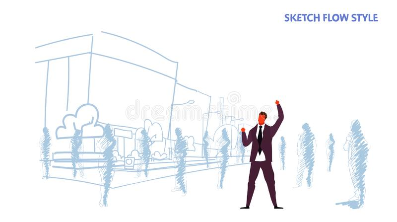 Spännande affärsman rymma händer upp den lyftta armaffärsmannen som ut står framgång för vinnare för folkfolkmassakonturer stock illustrationer