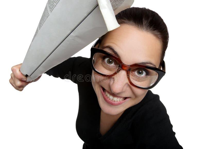 spännande exponeringsglaskvinna royaltyfri foto