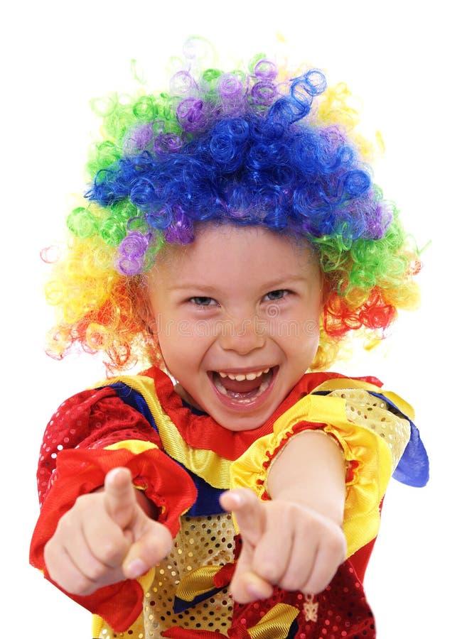 spännande flicka för clowndräkt little royaltyfria bilder
