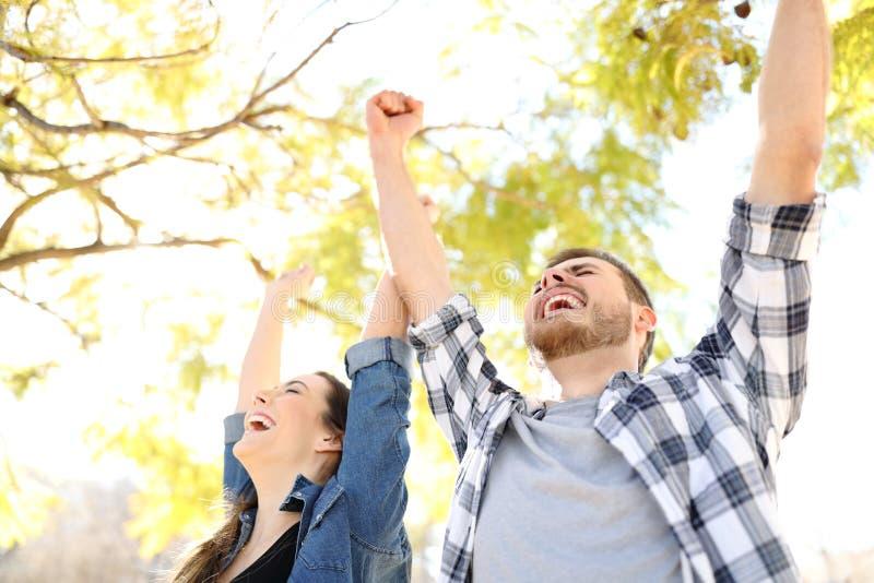 Spännande par som firar framgång som lyfter armar i, parkerar arkivbild