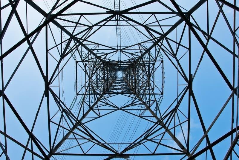 spänning för pylon för hög ström för elektricitet royaltyfri foto