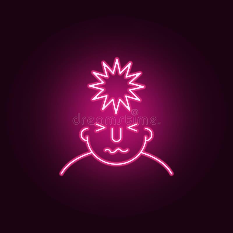spänning på meningssymbol Beståndsdelar av vad är i din mening i neonstilsymboler Enkel symbol för websites, rengöringsdukdesign, royaltyfri illustrationer