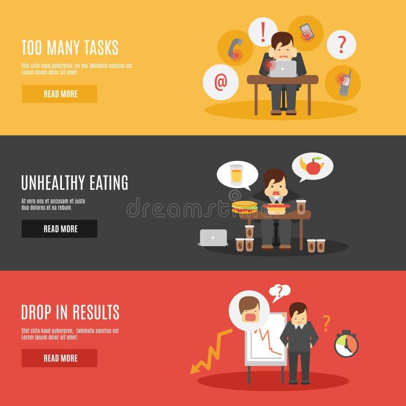 Spänning på uppsättningen för arbetslägenhetbaner stock illustrationer