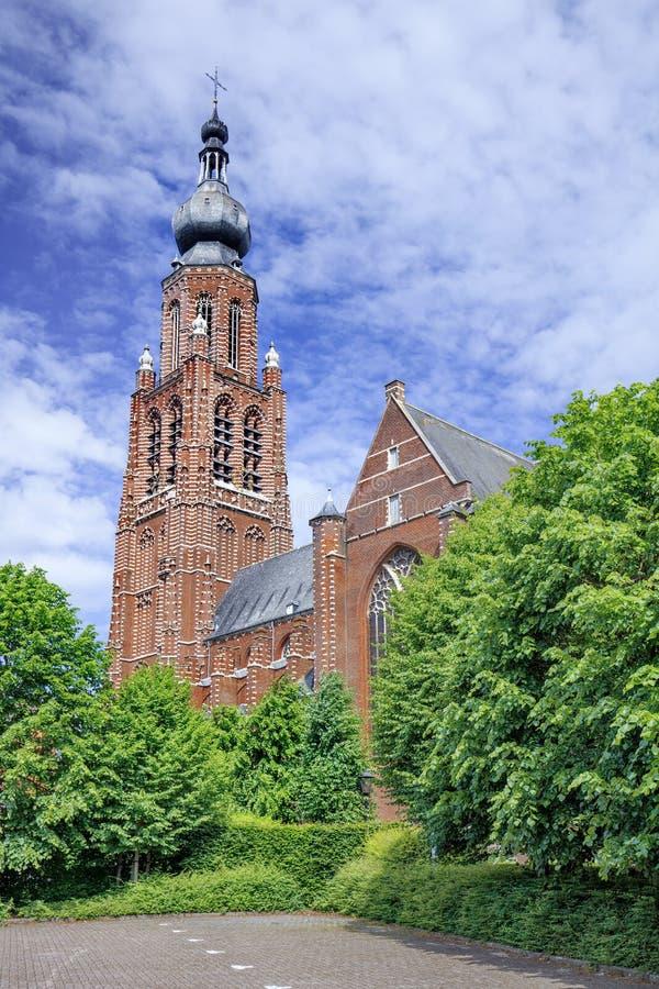 Späte gotische Heilig-Katharinakirche Hoogstraten, Belgien lizenzfreie stockbilder