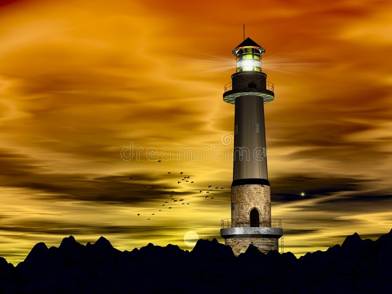 Später Abend des Leuchtturmes stock abbildung
