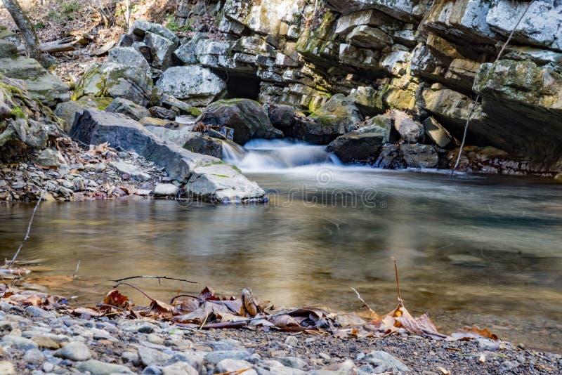 Später Autumn View des Brüllens des Laufnebenflusses stockbilder