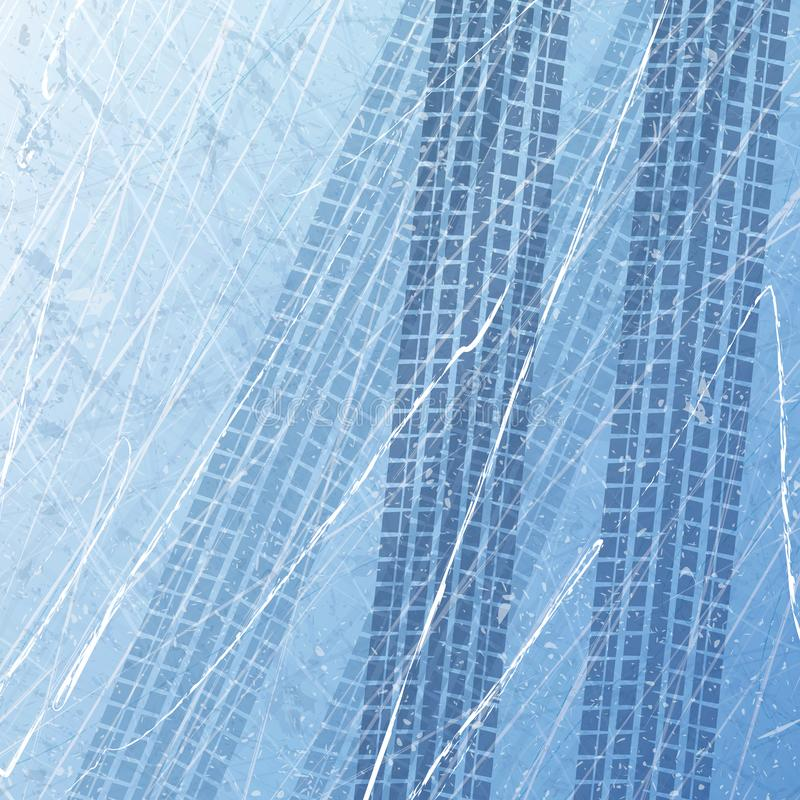 Spår av bilgummihjul på is custom motorcycle Biltryck i isen Textur av isyttersida Spår med separat grunge vektor illustrationer