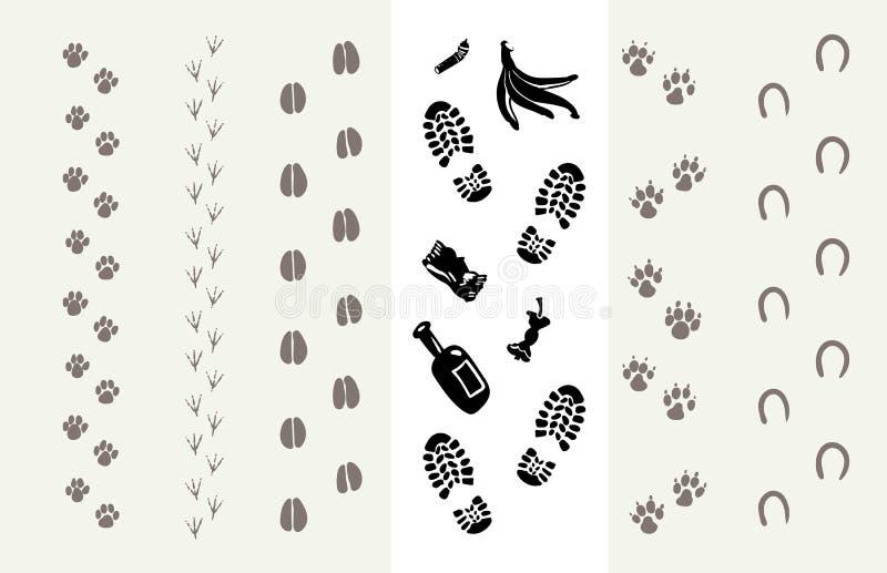 Spår av djur och människor vektor illustrationer