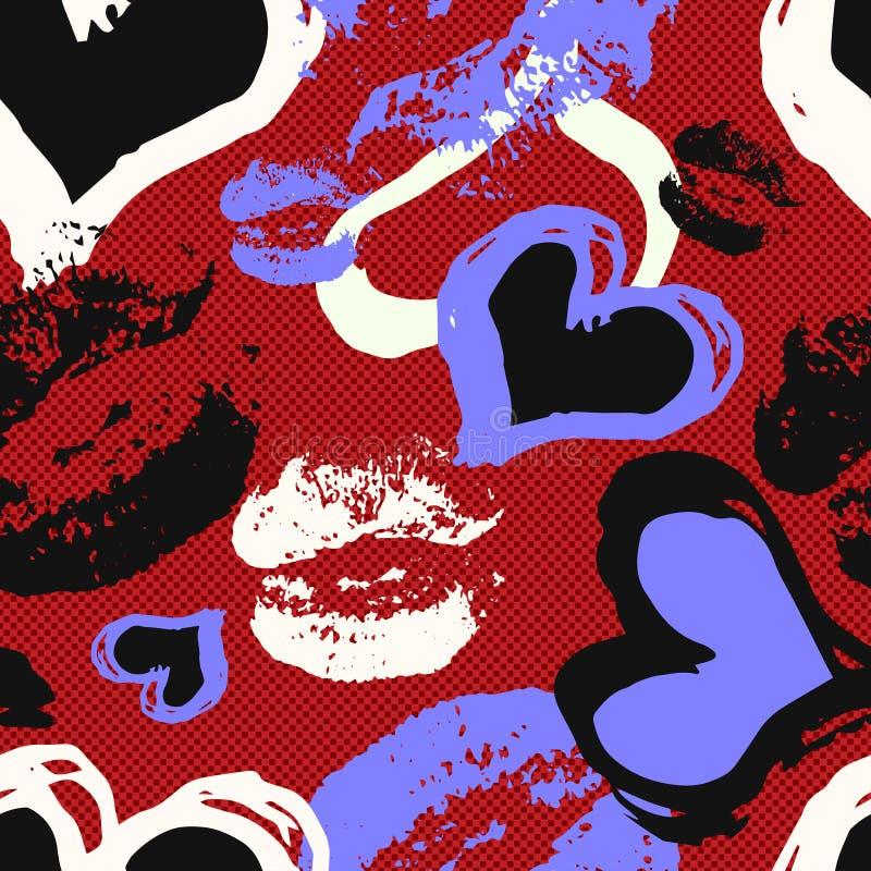 Spår av kanter och hjärta på sömlös modell för röd bakgrund vektor illustrationer