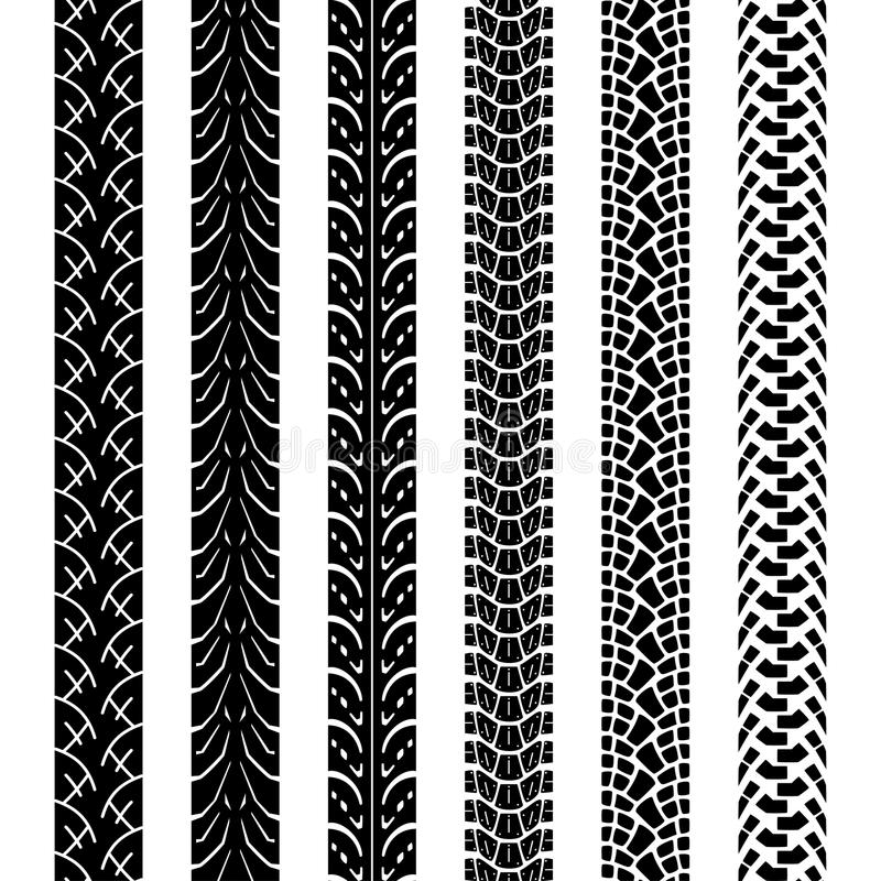 Spår för samlingsmotorcykelgummihjul, sömlös textur stock illustrationer