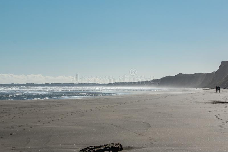 Spår längs stranden royaltyfri foto