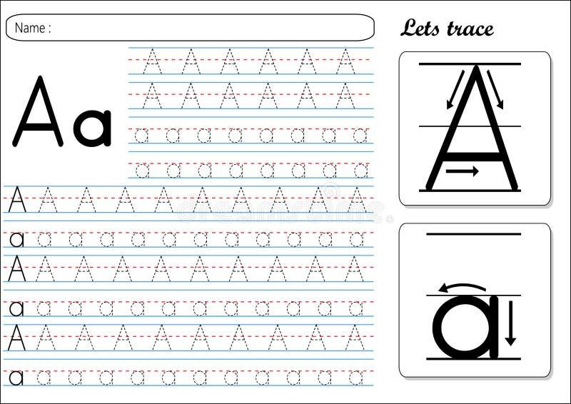 Spårande arbetssedel - Aa vektor illustrationer
