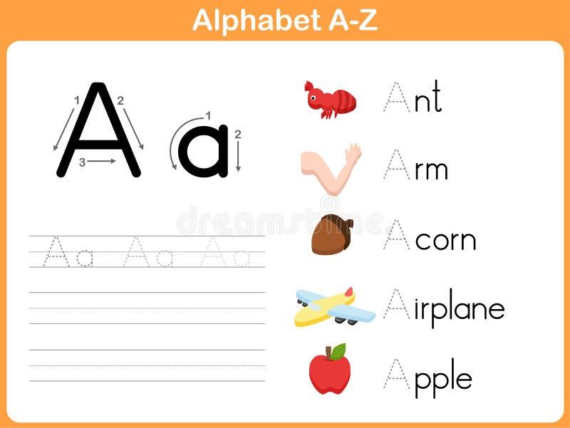 Spårande arbetssedel för alfabet vektor illustrationer