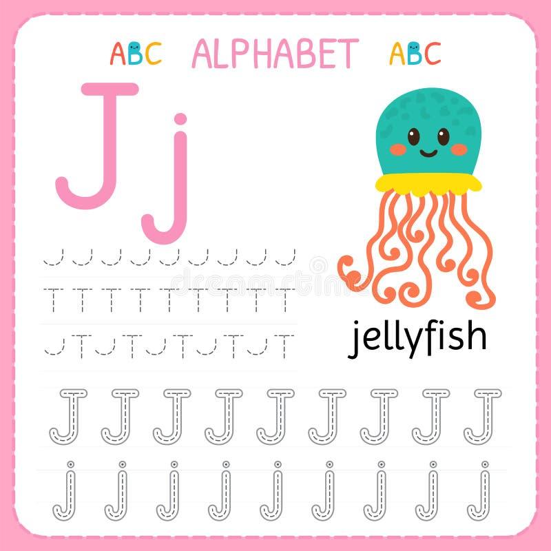 Spårande arbetssedel för alfabet för förträning och dagis Skriva övningsbrev J Övningar för ungar royaltyfri illustrationer