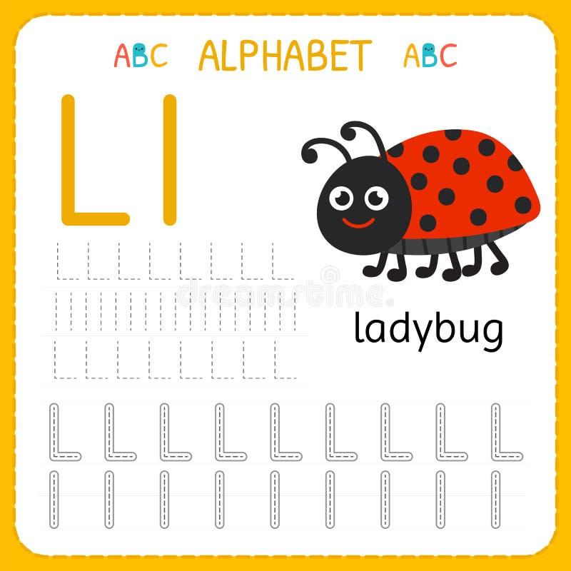 Spårande arbetssedel för alfabet för förträning och dagis Skriva övningsbrev L Övningar för ungar stock illustrationer