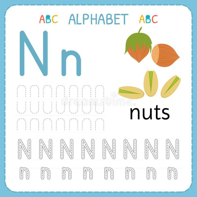 Spårande arbetssedel för alfabet för förträning och dagis Skriva övningsbrev N Övningar för ungar stock illustrationer