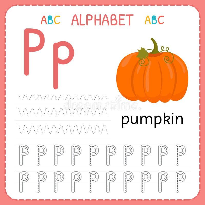 Spårande arbetssedel för alfabet för förträning och dagis Skriva övningsbrev P Övningar för ungar vektor illustrationer