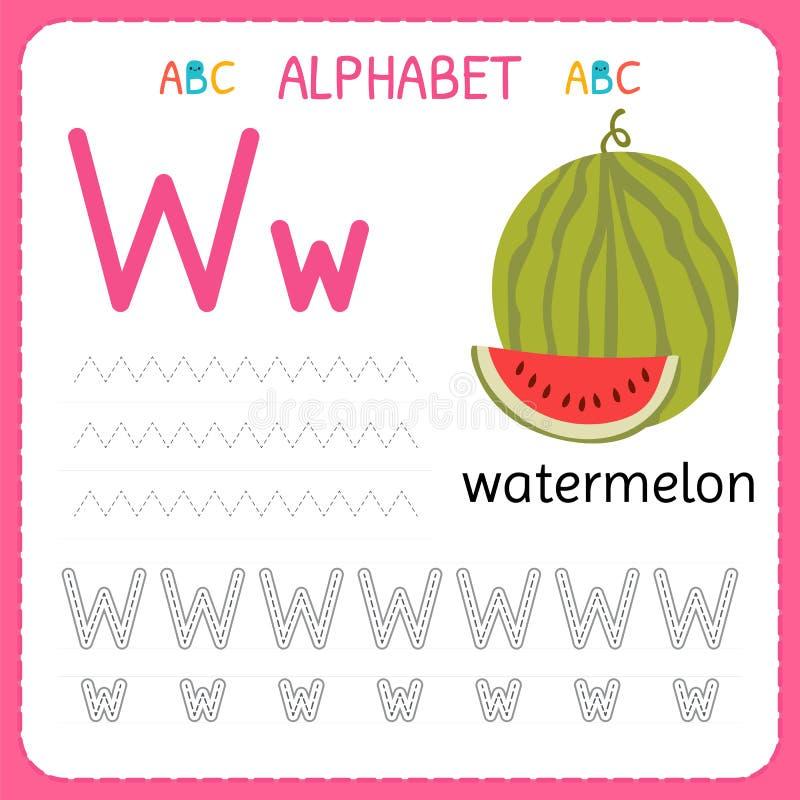 Spårande arbetssedel för alfabet för förträning och dagis Skriva övningsbrev W Övningar för ungar stock illustrationer