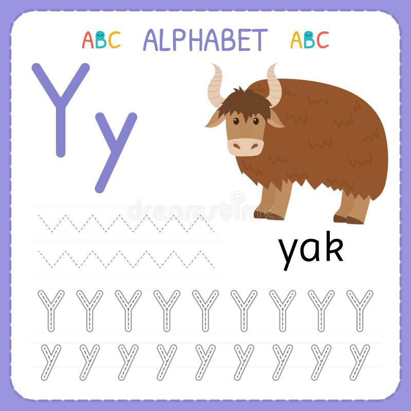 Spårande arbetssedel för alfabet för förträning och dagis Skriva övningsbrev Y Övningar för ungar royaltyfri illustrationer