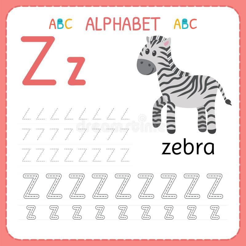 Spårande arbetssedel för alfabet för förträning och dagis Skriva övningsbrev Z Övningar för ungar royaltyfri illustrationer