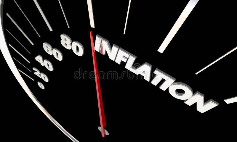 Spårande högre kostnader 3d för inflationstigande prishastighetsmätare dåligt vektor illustrationer