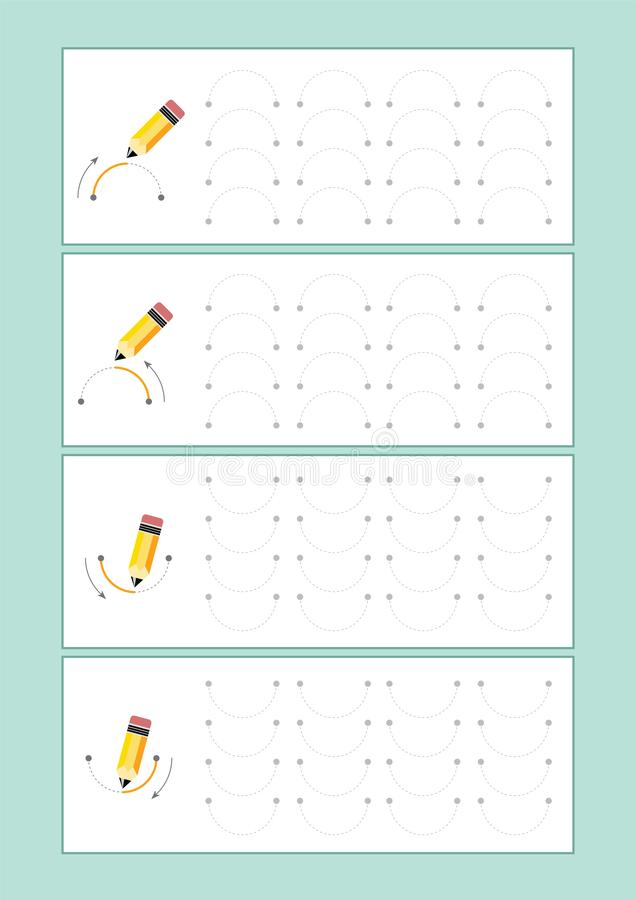 Spåringslinjer vektor för förträning eller dagis och specialundervisning Spåringslinjer för framkallande fineÂmotorexpertis vektor illustrationer
